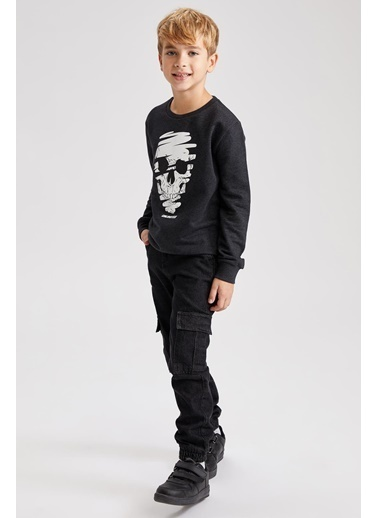 DeFacto Erkek Çocuk Kargo Cepli Jogger Fit Jean Pantolon Siyah